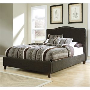 Kasidon Fabric Nailhead Upholstered Bed in Brown