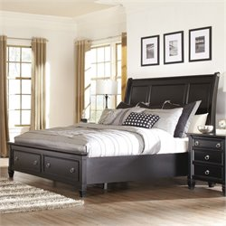 Ashley Greensburg Wood California King Sleigh Drawer Bed in Black