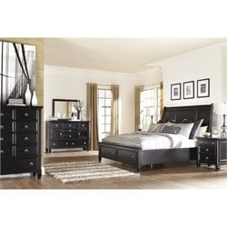 Greensburg 6 Piece Drawer Sleigh Bedroom Set in Black