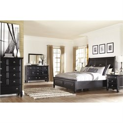 Ashley Greensburg 6 Piece King Drawer Sleigh Bedroom Set in Black
