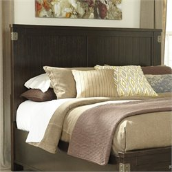 Ashley Haddigan Wood Queen Panel Headboard in Dark Brown
