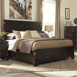 Ashley Haddigan Wood King Panel Drawer Bed in Dark Brown