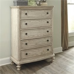 Ashley Demarlos 5 Drawer Wood Chest in Parchment