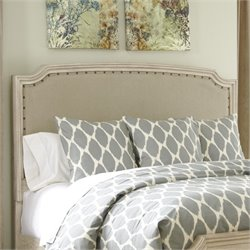 Demarlos Upholstered Panel Headboard in Parchment