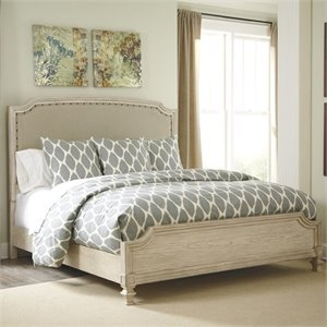 Demarlos Upholstered Panel Bed in Parchment