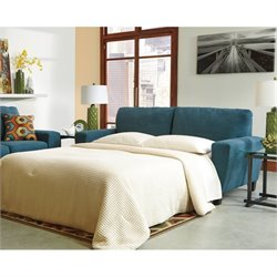 Ashley Sagen Fabric Queen Size Sleeper Sofa in Teal