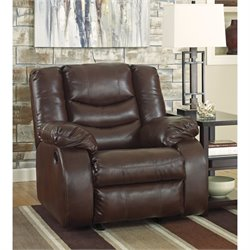 ashley linebacker leather rocker recliner in espresso - Leather Rocker Recliner