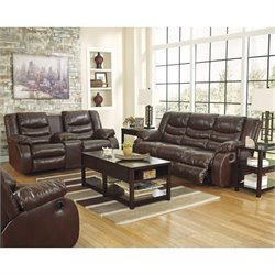 Ashley Linebacker 3 Piece Leather Reclining Sofa Set in Espresso