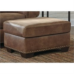 Ashley Burnsville Faux Leather Ottoman in Espresso