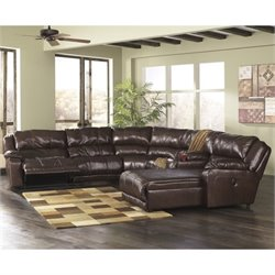 Ashley Braxton 6 Piece Right Reclining Storage Sectional in Java