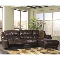 Ashley Braxton 3 Piece Right Chaise Double Reclining Sectional in Java