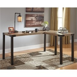 Ashley Dexifield Home Office Corner Desk in Light Brown