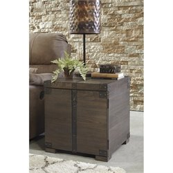 Ashley Burladen Square End Table in Grayish Brown