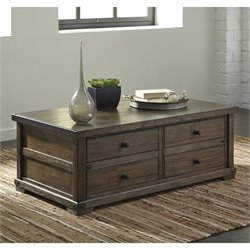 Ashley Zenfield Coffee Table with Storage in Medium Brown
