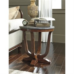 Ashley Balinder Round End Table in Medium Brown