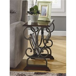 Ashley Braunsen Chair Side End Table with Magazine Rack in Brown