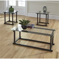 Ashley Vonarri 3 Piece Glass Coffee Table Set in Black