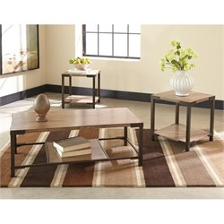 Ashley Dexifield 3 Piece Coffee Table Set in Light Brown