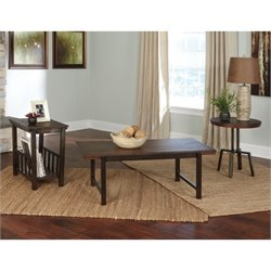 Ashley Riggerton 3 Piece Coffee Table Set in Burnished Brown