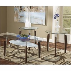 Ashley Avani 3 Piece Glass Coffee Table Set in Nickel