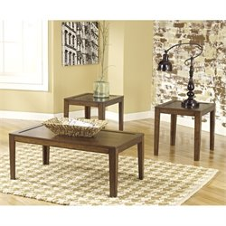 Ashley Hollytyne 3 Piece Coffee Table Set in Brown