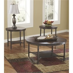Ashley Sandling 3 Piece Round Coffee Table Set in Rustic Brown
