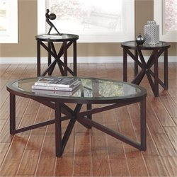 Ashley Sleffine 3 Piece Coffee Table Set in Dark Brown