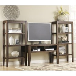 Ashley Deagan 3 Piece TV Stand Set in Dark Brown