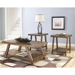 Ashley Bradley 3 Piece Coffee Table Set in Burnished Brown