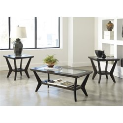 Ashley Lanquist 3 Piece Rectangular Coffee Table Set in Brown