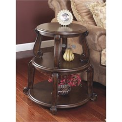 Ashley Brookfield Two Tiered Round End Table in Dark Brown