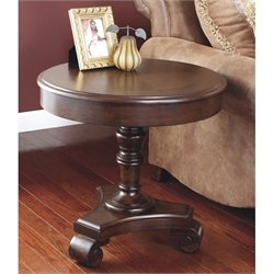 Ashley Brookfield Round End Table in Dark Brown
