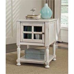 Ashley Mirimyn Chair Side End Table with Glass Insert in White