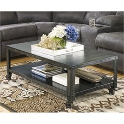 Ashley Hattney Metal Rectangular Coffee Table in Gray