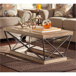 Ashley Cordine Rectangular Coffee Table in Light Brown