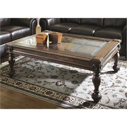 Ashley Mantera Coffee Table with Glass Insert in Dark Rustic Brown