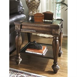 Ashley Mantera Square End Table with Glass Insert in Dark Rustic Brown