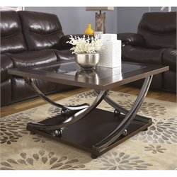 Ashley Rollins Square Coffee Table with Glass Insert in Dark Brown