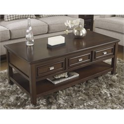 Ashley Larimer Rectangular Coffee Table with Drawers in Dark Brown