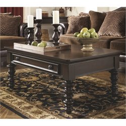 Ashley Key Town Rectangular Coffee Table in Dark Brown