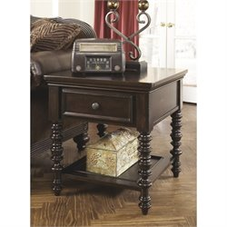 Ashley Key Town Rectangular End Table in Dark Brown