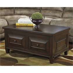 Ashley Hindell Park Lift Top Coffee Table in Rustic Brown