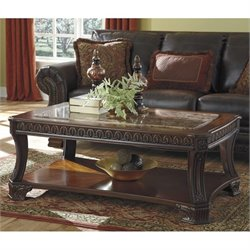 Ashley Ledelle Faux Marble Rectangular Coffee Table in Brown