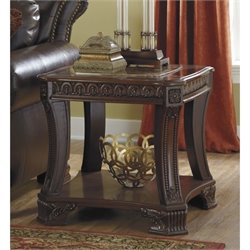Ashley Ledelle Faux Marble Square End Table in Brown