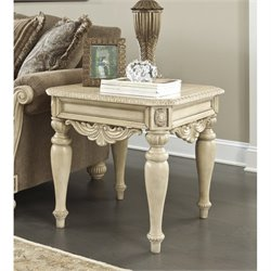 Ashley Ortanique Square End Table in Light Brown