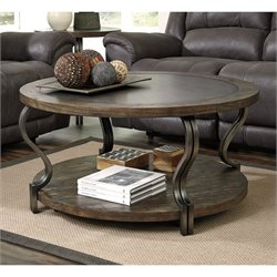 Ashley Volanta Round Coffee Table with Metal Inset in Caramel
