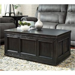 Ashley Gavelston Lift Top Coffee Table in Rubbed Black