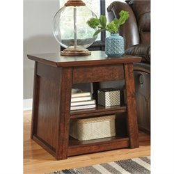 Ashley Harpan Rectangular End Table with Power Port in Reddish Brown