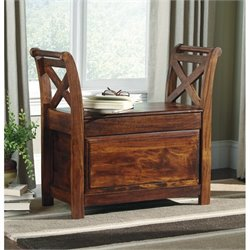Ashley Abbonto Storage Bench in Warm Brown