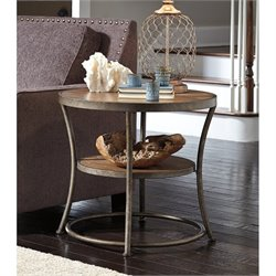 Ashley Nartina Round End Table in Light Brown